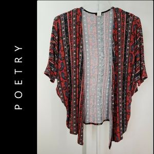 Poetry Woman Open Front Paisley Cardigan Size 1X
